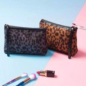 Leopard Print Makeup Cosmetic Wristlet Clutch Bag